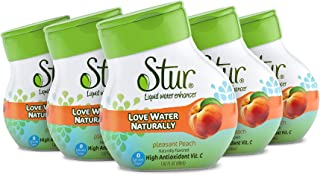 Stur – Peach, Natural Water Enhancer, (5 Bottles, Makes 100 Flavored Waters)..