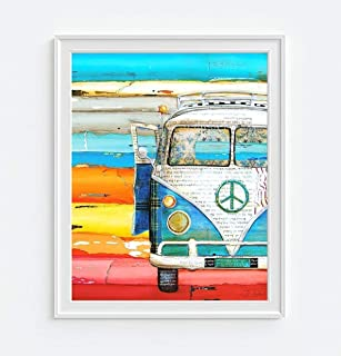 Playing Hooky, Danny Phillips Art Print, Unframed, Vintage Antique Classic Van Ocean Beach Inspired Funky Retro Vintage Mixed Media Art Wall and Home Decor Hippie Poster, 8x10 Inches