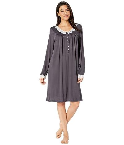 Eileen West Sweater Knit Short Nightgown (Charcoal) Women