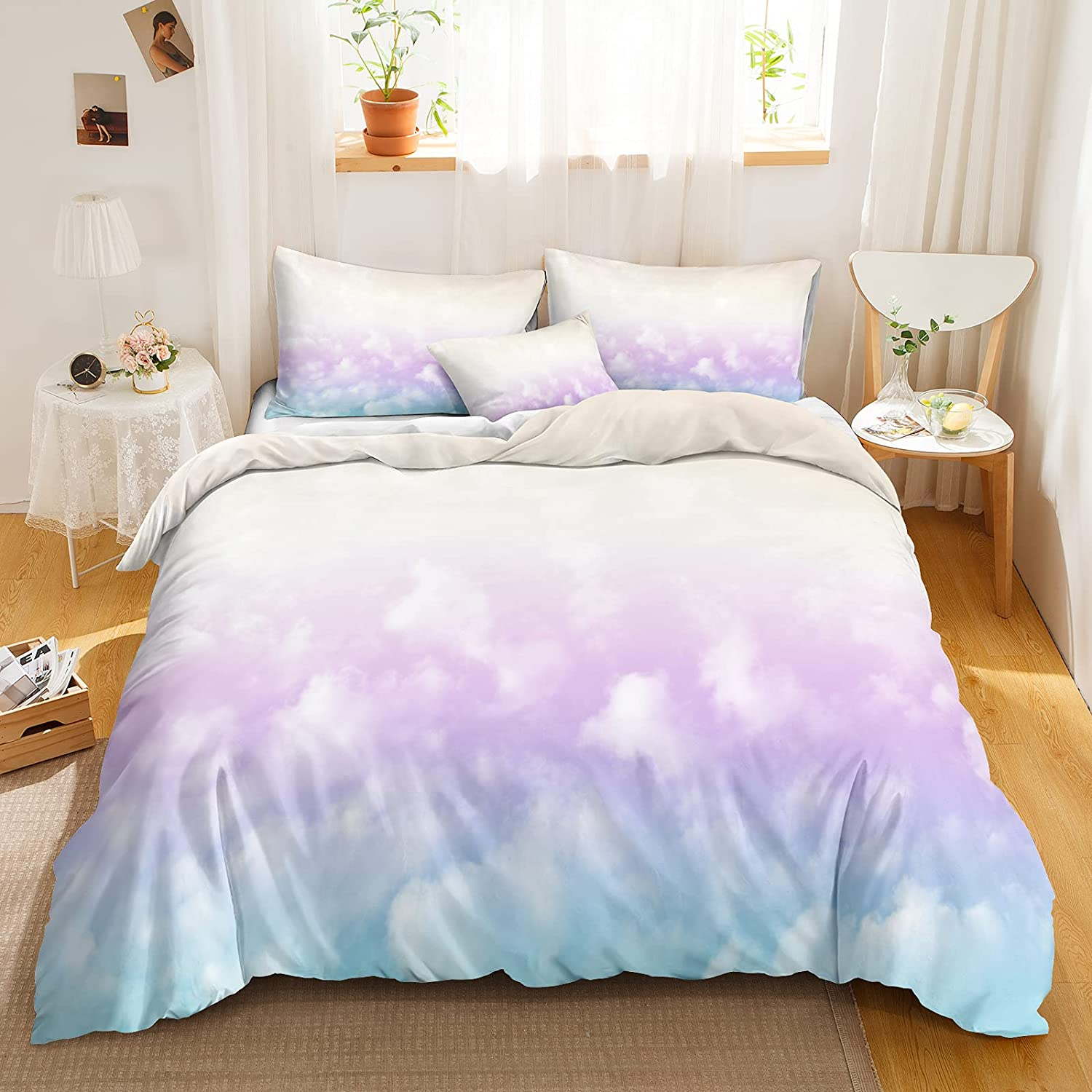 Direct Beauty products stock discount Cloud Bedding Rainbow Duvet Cover Set White Blue Printed Sky Clo