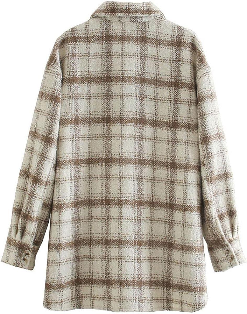 Women's Denim Jacket Plus Size plaid Coat Fashion Female Spring And Autumn Girl's Corduroy Shirt Multi-pocket Jacket