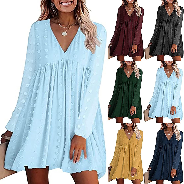 Womens Dresses Trendy Chiffon Dress Long Sleeve Beach Sundress Casual Solid Jacquard Cocktail Dress Pleated Midi Skirt