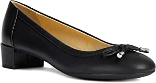 "GEOX Women's Carey 34 Mid Pump with Round Toe and Bow, 1 1/4"" Heel, Black Oxford, 38 M EU (8 US)"