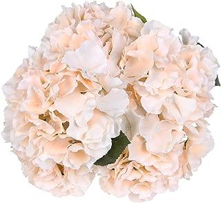 Luyue 5 Big Heads Artificial Silk Hydrangea Bouquet Fake Flowers Arrangement Home Wedding Decor (Champagne)