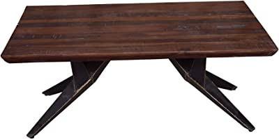 Designe Gallerie Faunia Coffee Table with Iron Legs, Living Room, Wooden Top, Rustic Finish, Wood and Metal, Home Furniture-Natural, Brown