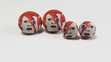 David Bowie Fabric Button Earrings, Necklace, or Necklace Set