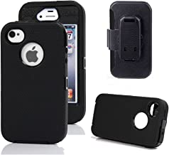 iPhone 4s Case, Harsel Defender Series Heavy Duty Tough Rugged High Impact Armor Hybrid Military with Belt Clip Built-in Screen Protector Case Cover for Apple iPhone 4s /4g (Black/Black)