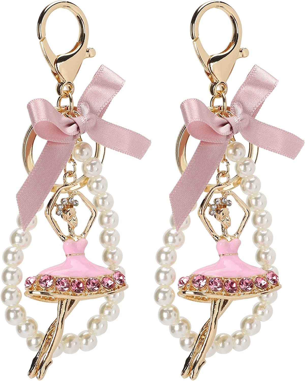 2Pcs Keychain Pendant, Ballet Girl Diamond Studded Metal Key Ring Car Decoration Ear Decoration Crystal Earring Ear Drop for Women