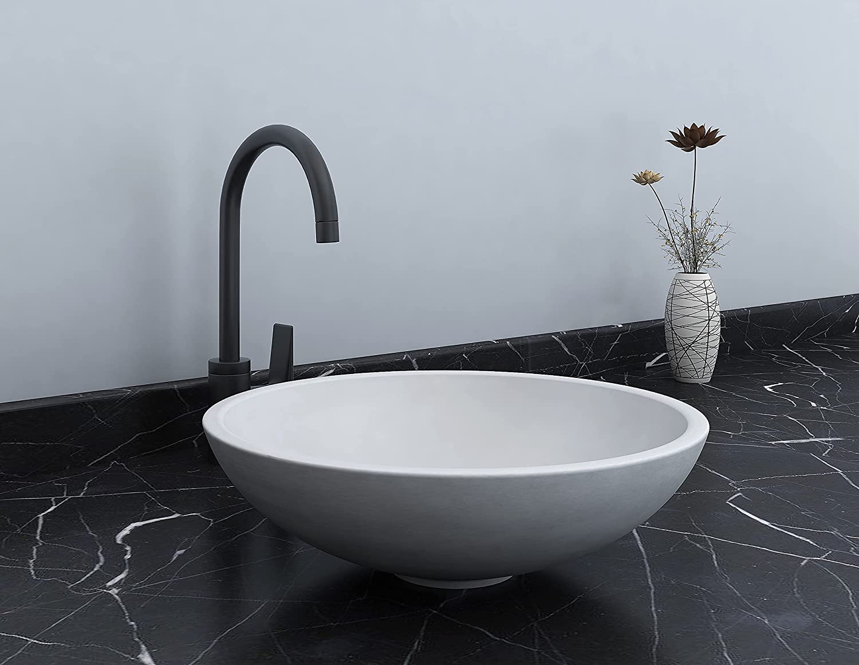 Buy Durx Litecrete Concrete Bathroom Vessel Sinks 16 Inch Above Counter Gray Vanity Sink Bowl Round Countertop Sink For Lavatory Vanity Cabinet Online In Hungary B09d3frxj6