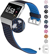 Jobese Compatible with Fitbit Ionic Bands, Breathable Soft Silicone Sports Strap with Crystal Protective Case Replacement Accessories Wristbands Men Women