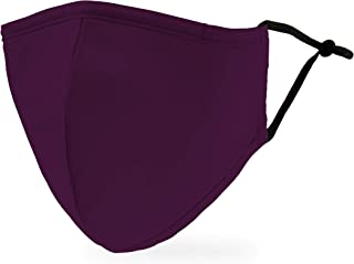 Weddingstar 3-Ply Adult Washable Cloth Face Mask Reusable and Adjustable with Filter Pocket - Dark Purple