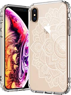 MOSNOVO Case for iPhone Xs/iPhone X, White Floral Henna Mandala Flower Pattern Clear Design Transparent Plastic Back Case with TPU Bumper Gel Protective Case Cover for Apple iPhone X/iPhone Xs