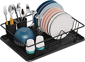 Dish Drying Rack, GSlife Small Dish Rack with Tray Compact Dish Drainer for Kitchen Counter Cabinet, Black