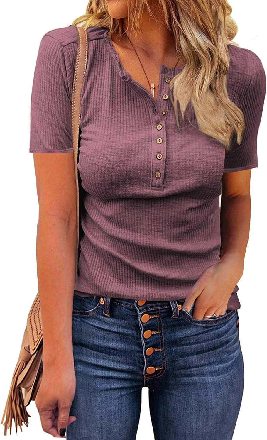 VICHYIE Womens Ribbed Knit Henley Long Sleeves Tunic Lace Tops V Neck Button Shirts Casual Slim Fit Blouses