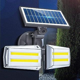BBZZ Veilleuse solaire 12 W réglable double tête 80 COB lampe murale extérieure LED capteur radar étanche lampe de sécurit...
