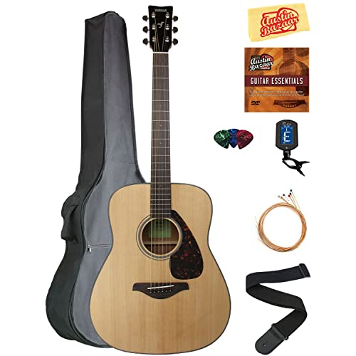 Yamaha FG800 Acoustic Guitar - Natural Bundle with Gig Bag, Tuner, Strings, Strap