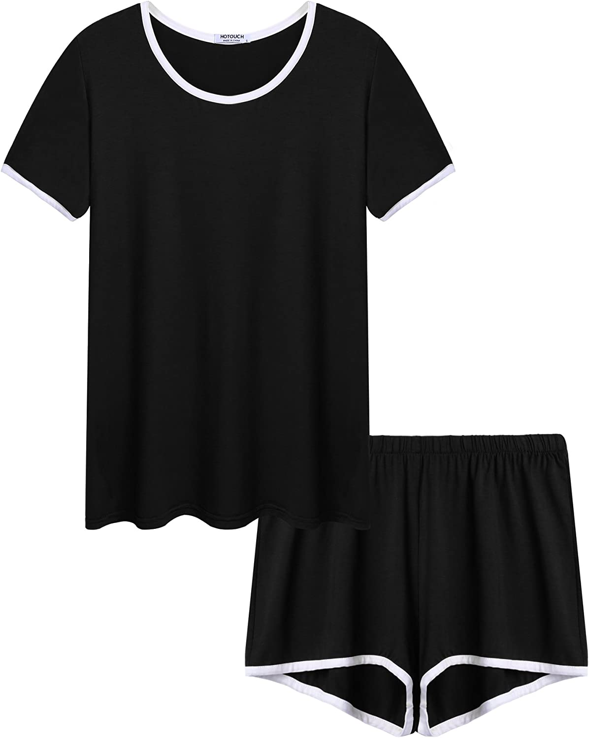 HOTOUCH Women Two Pieces Pajamas Short Sleeve TShirt and Shorts Set Lounge Sleepwear 3 colors SXXL