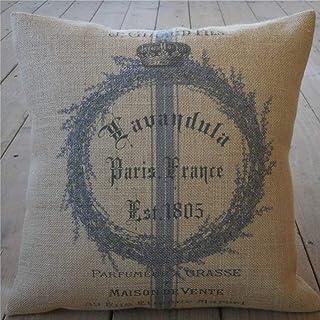 EricauBird Almohada de arpillera con corona de lavanda Shabby Chic Decor 52 French Country Spring almohada estilo granja funda de cojín de lino cuadrada para decoración del hogar