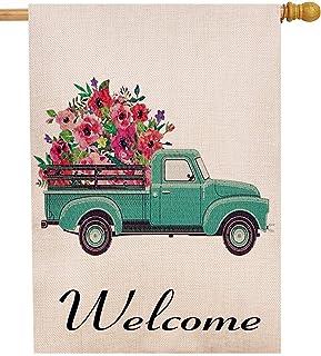 Selmad Summer Flower Truck 28 x 40 House Flag Decorative Farmhouse Décor, Spring Large Garden Flag Double Sided, Floral Welcome Old Farm Pickup Yard Decoration, Rustic Burlap Seasonal Outdoor Flag