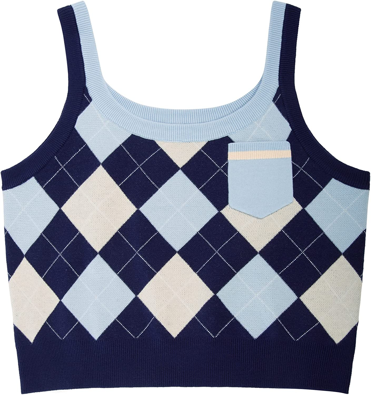 Kate Kasin Women's Sleeveless Preppy Style Vest Cropped Max 72% OFF Tampa Mall Sweater
