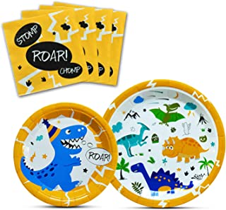 WERNNSAI Dinosaur Party Supplies - Dinosaur Tableware Set for Boys Birthday Baby Shower Dinner Dessert Plates Napkins Serves 16 Guests 48 Pieces