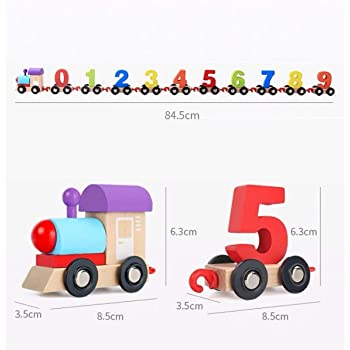 AdiChai Wooden Train Toy Set -Train Cars Digital Toy Set-Toy Train Sets for Kids Toddler Boys and Girls - Learning & Educational Toy - Vehicle Pattern 0 to 9 Number - Incredible Finishing