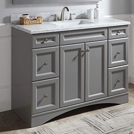 Amazon Com 48 Single Bathroom Vanity Bathroom Vanity With Marble Top And Round Sink 48 Inches White Kitchen Dining