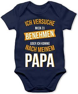 Shirtracer - Sprüche Baby - Ich versuche Mich zu benehmen Papa orange - Baby Body Kurzarm für Jungen und Mädchen