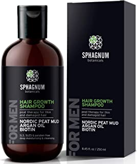 Champú para el crecimiento del cabello para hombres: refuerzo natural de biotina con aceite de argán y lodo de turba trat...