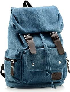Ecokaki(TM) Vintage Canvas Casual X Large Hiking Cycling Rucksack Backpack School Bag Laptop Bag Travel Daypack Handbag, Blue