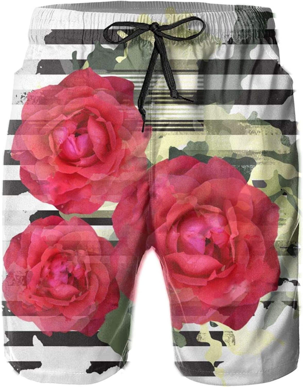 Yt92Pl@00 Virginia Beach Mall Men's Max 48% OFF 100% Polyester Roses Swim Fashion Trunks Board