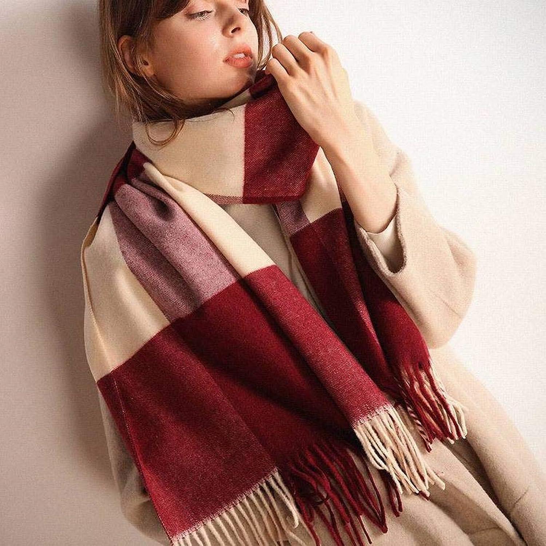 Japan and South Korea Sweet Warm Brushed Unisex Men   Women Warm Lattice Long Autumn and Winter Outdoor MultiFunctional Fashion Trend Wild Warm Shawl Scarf Gift, QiXian, Claret