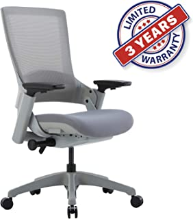 CLATINA Ergonomic High Swivel Executive Chair with Adjustable Height 3D Arm Rest Lumbar Support and Mesh Back for Home Office (Gray)