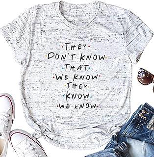6766a87c AEURPLT Womens Friends TV Show T Shirt Summer Short Sleeve Funny Graphic Tee  Shirts