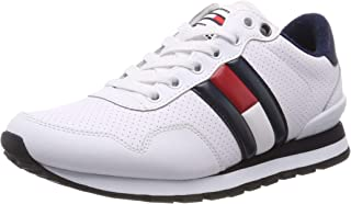 Hilfiger Denim Men's Lifestyle Tommy Jeans Sneaker Trainers, White (White 100), 12 UK (46 EU), CLASSIC WHITE, Size 46 EU
