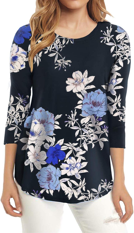 JULYER Women's 3/4 Sleeve Shirts Leopard Print Round Neck Loose Tunic Tops