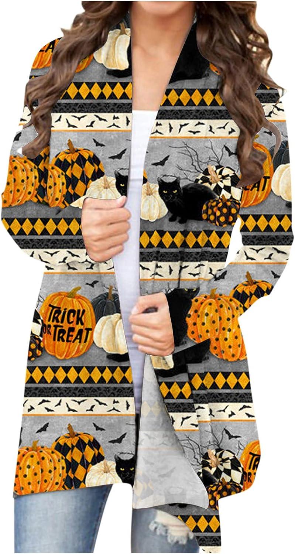 Eduavar Halloween Clothes,Womens Halloween Long Sleeve Open Front Cardigans Funny Cute Pumpkin Ghost Lightweight Shirts