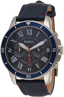 ساعة يد للرجال بسوار جلدي ومينا ازرق من فوسيل - Fs5373، انالوج