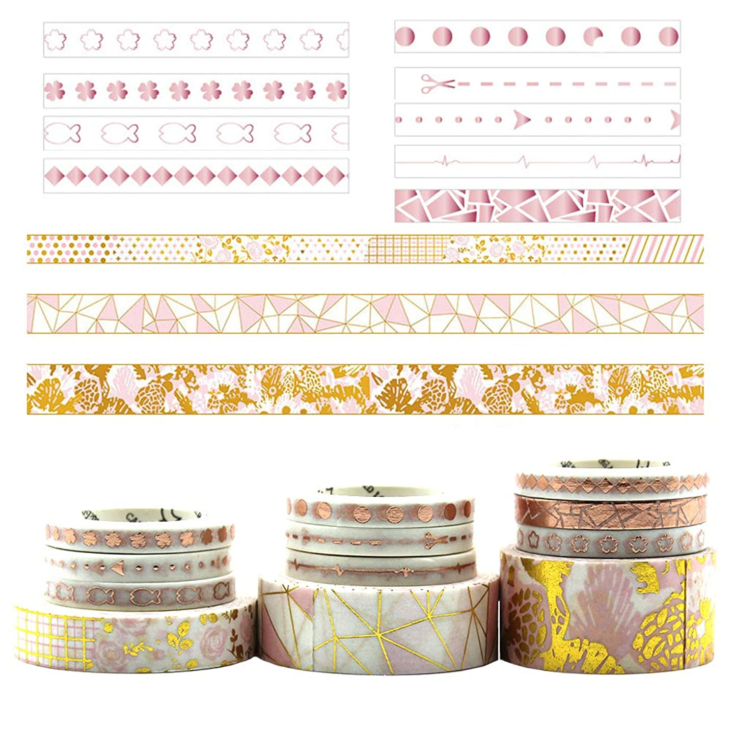 Valentine's Day Gifts SUBCLUSTER Set of 12,Rose Gold Foil Washi Tape Set Gold Stickers Collection for DIY Scrapbooking Bullet Journal, Planner, Arts & Craft Gift Wrapping Tapes 12 Rolls