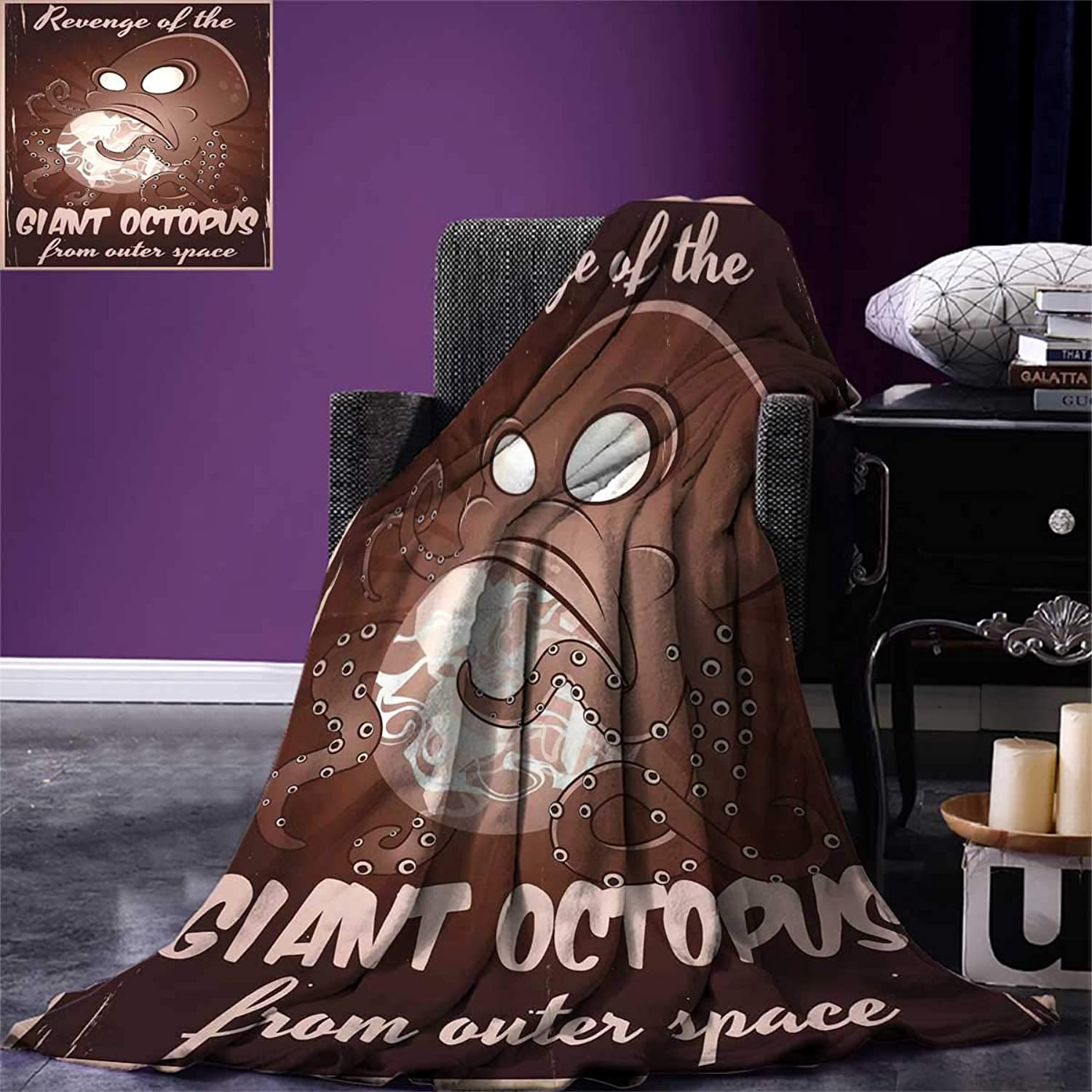 Octopus,Wearable Blanket,Retro Old Poster Print of Cartoon Monster Alien Octopus with Tentacles Attacking Earth,All Weather Blanket,Brown,Size:60 x36