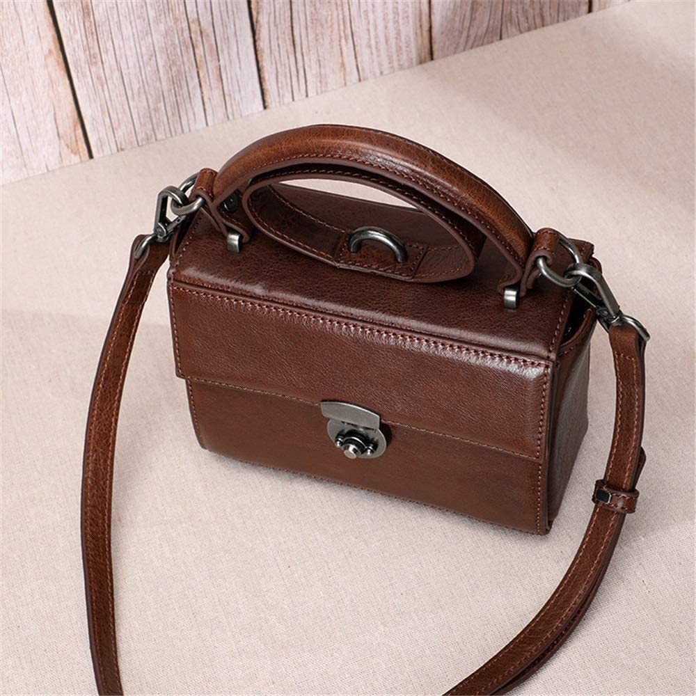 HEMFV Épaule de Mode Sac à bandoulière for Les Femmes, Sangle réglable Vintage Cross Body Bag Sac à Main en Cuir (Color : Brown) Black