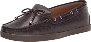Driver Club USA Women's Leather Made in Brazil Boat Shoe with Tiebow Detail, Brown Grainy/Natural Sole, 6.5 M US