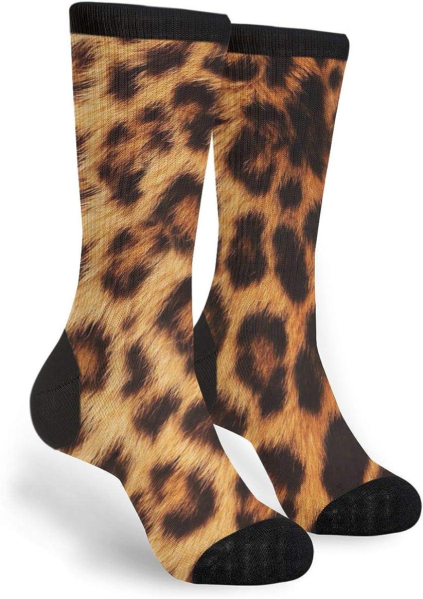 Leopard Pattern Novelty Fun Crazy Crew Socks - Dress Casual Socks