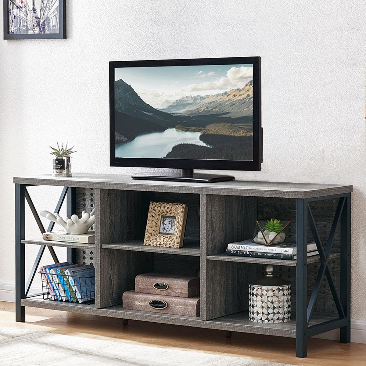 LVB TV Stand for 65 Inch TV, Farmhouse Wood Entertainment Center with Storage Shelves for Bedroom, Mid Century Modern Rustic Industrial TV Console Table for Living Room Home, Gray Oak, 55 Inch