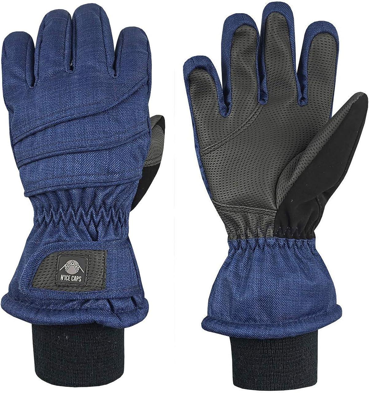 N'Ice Caps Kids Thinsulate Waterproof Bulky Winter Snow Ski Glove With Ridges