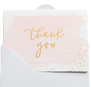 Thank You Cards | 48 Blank Gold Foil Watercolor-Wedding Baby & Bridal Shower