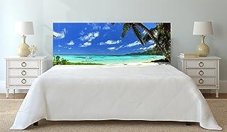Oedim Cabecero Cama Cartón Ecologico | Impresión Digital | Sin Relieve | Panorama de la Playa Seychelles 150 x 60 cm | Cabecero Ligero, Elegante, Resistente y Económico