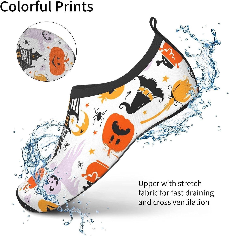 NA Cute Halloween Patterns Men's Women's Water Shoes Barefoot Quick Dry Slip-On Aqua Socks for Yoga Beach Sports Swim Surf