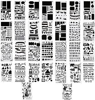 Aweisile 30 Pièces Journal Bullet Journal Pochoirs à Dessin Kit Scrapbooking Reutilisable Plastique Pochoirs pour travaux ...