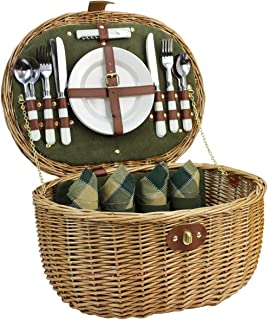 Willow Picnic Basket for 4 Persons with Service Set, Natural Safe Wicker Hamper Best Gift for Father Mother